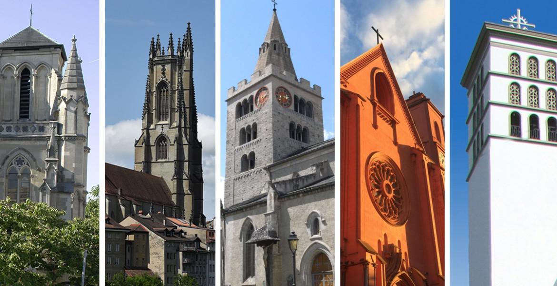 Photo: la Basilique de Genève, la cathédrale de Fribourg, la cathédrale de Sion, la basilique de Neuchâtel et la basilique de Lausanne (Montage: cath.ch)